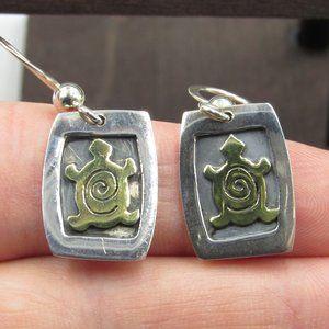 Sterling Silver Unique Swirling Turtle Earrings